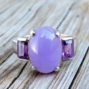 Vintage 925 Amethyst & Purple Jade 3 Stone Ring